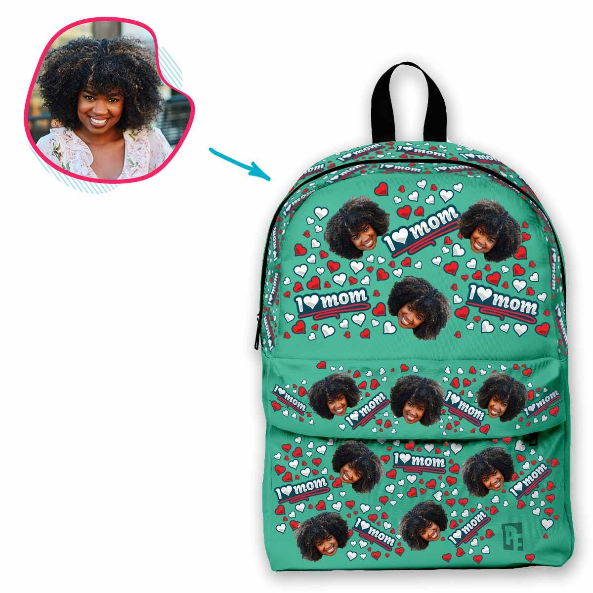 mint Love Mom classic backpack personalized with photo of face printed on it