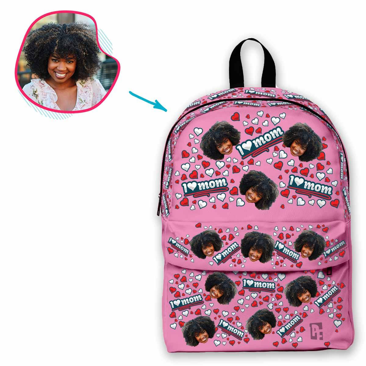 pink Love Mom classic backpack personalized with photo of face printed on it
