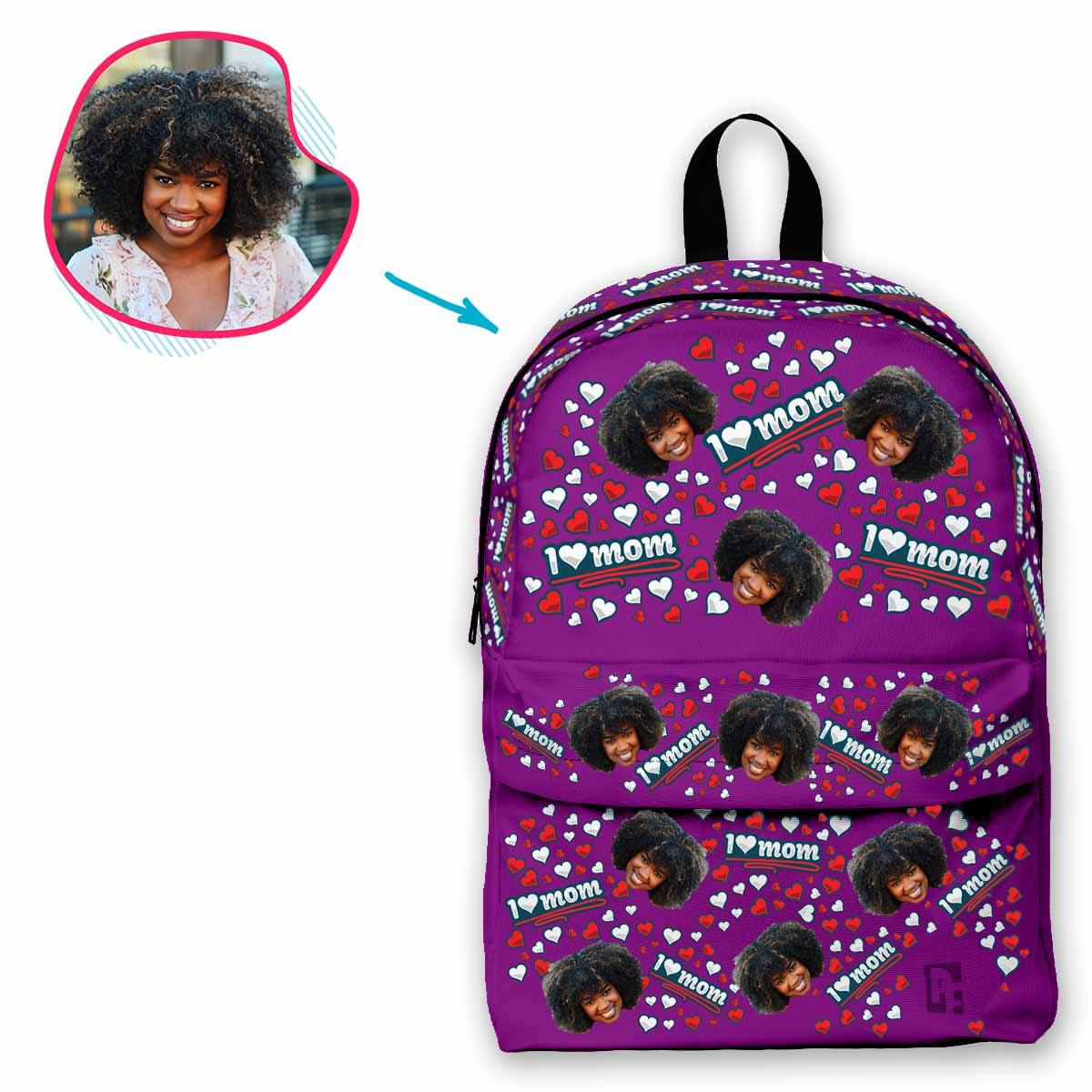 purple Love Mom classic backpack personalized with photo of face printed on it