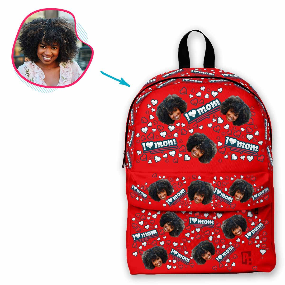 red Love Mom classic backpack personalized with photo of face printed on it