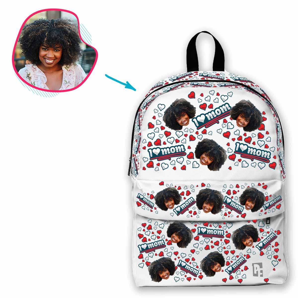 white Love Mom classic backpack personalized with photo of face printed on it