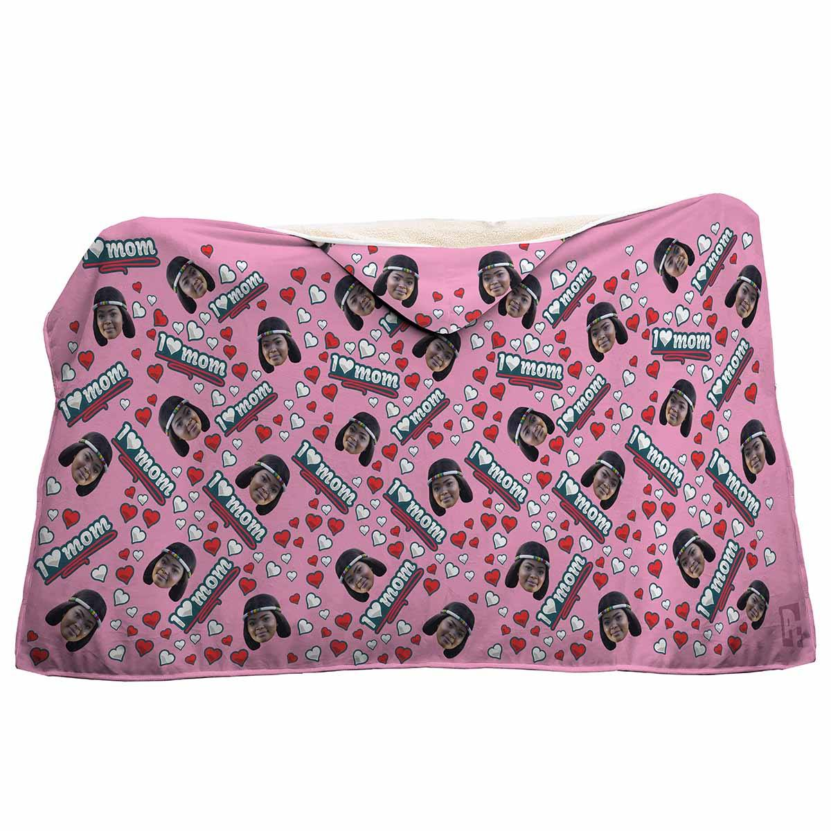 pink Love Mom hooded blanket personalized with photo of face printed on it