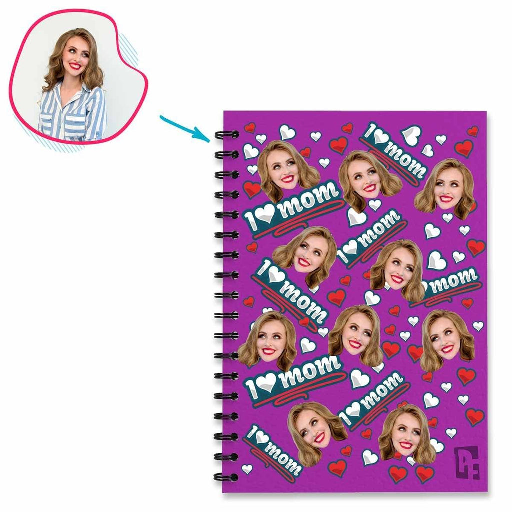 purple Love Mom Notebook personalized with photo of face printed on them