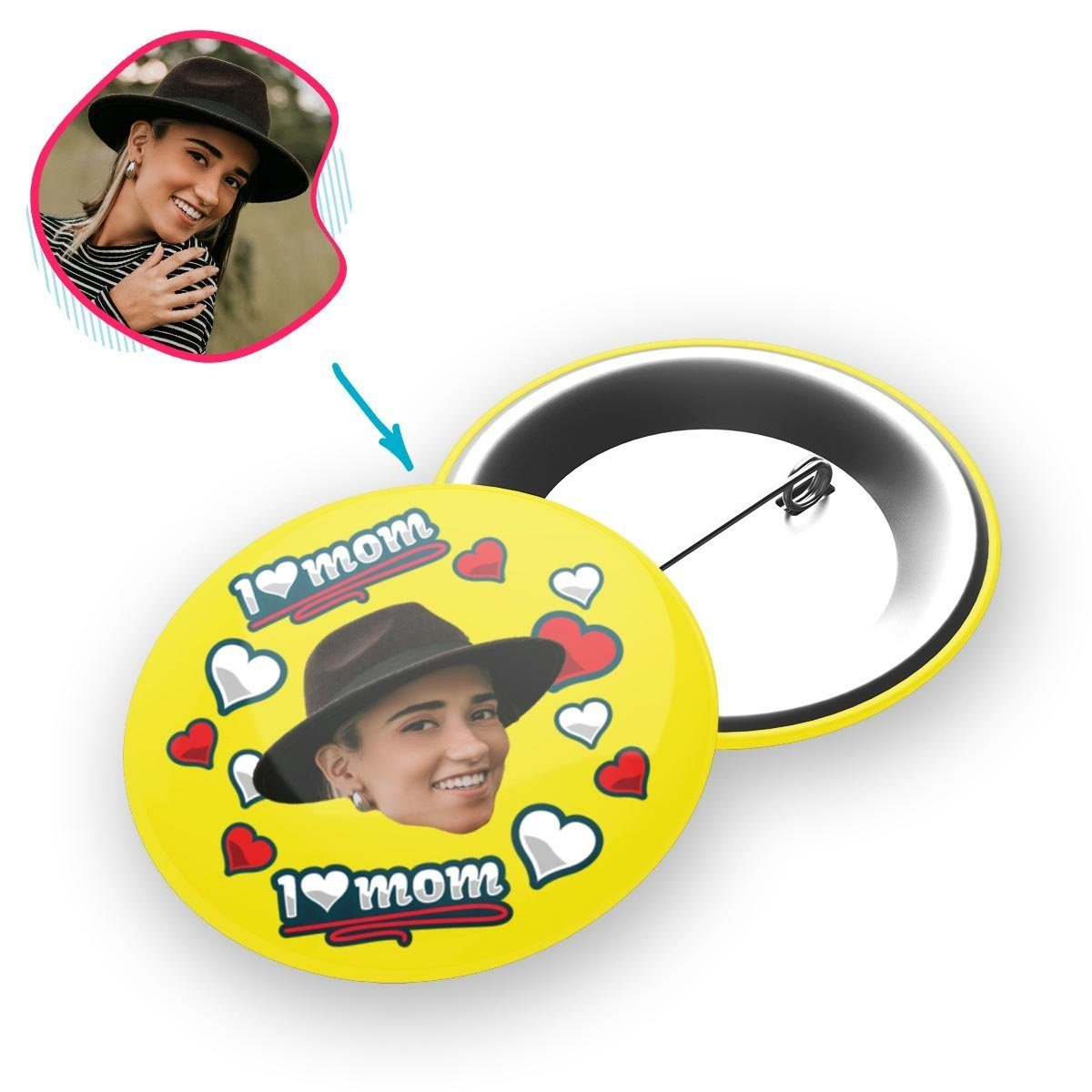 yellow Love Mom pin personalized with photo of face printed on it