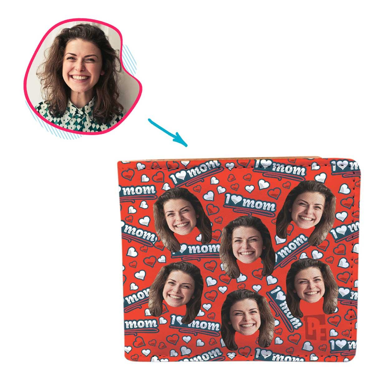 red Love Mom wallet personalized with photo of face printed on it