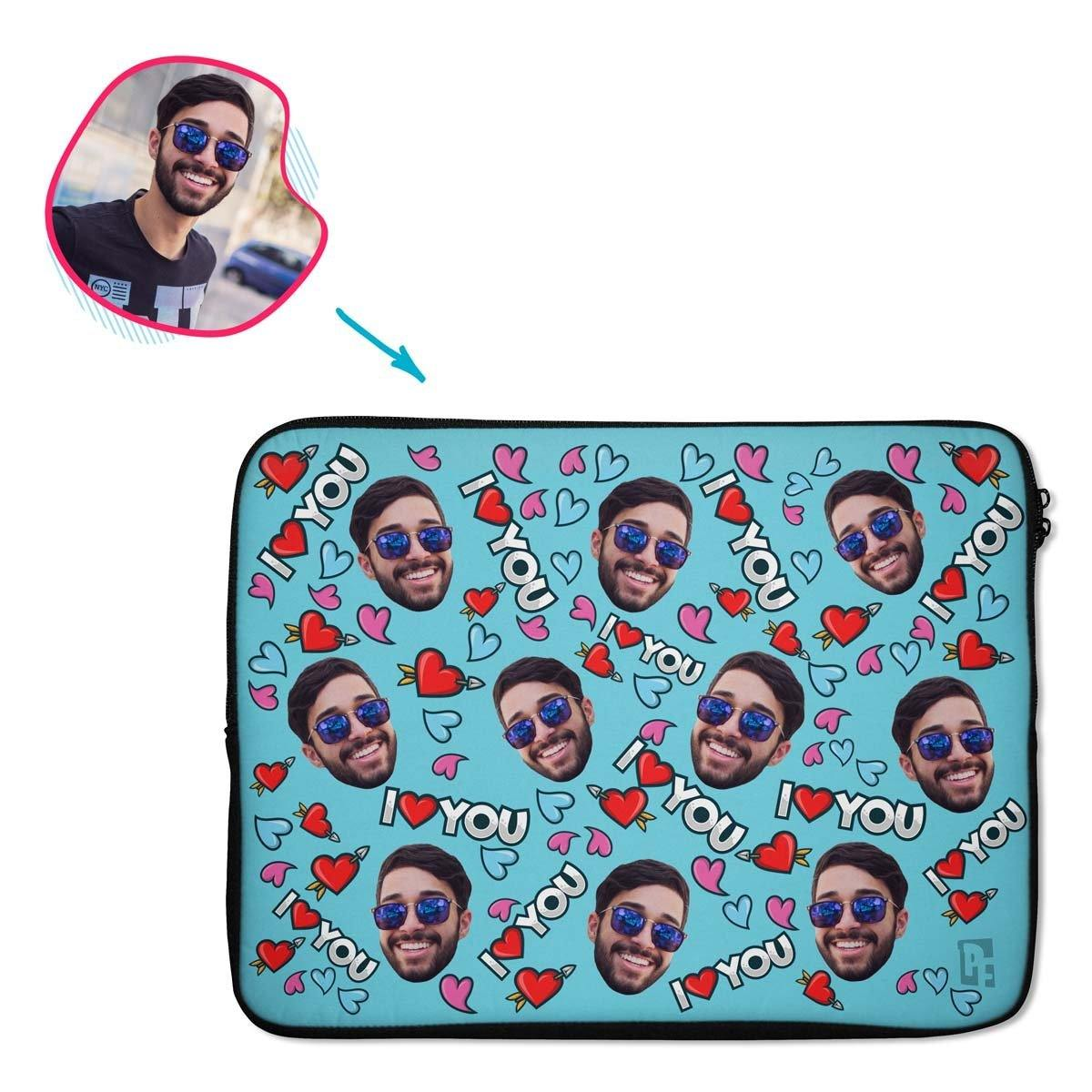 blue Love You laptop sleeve personalized with photo of face printed on them