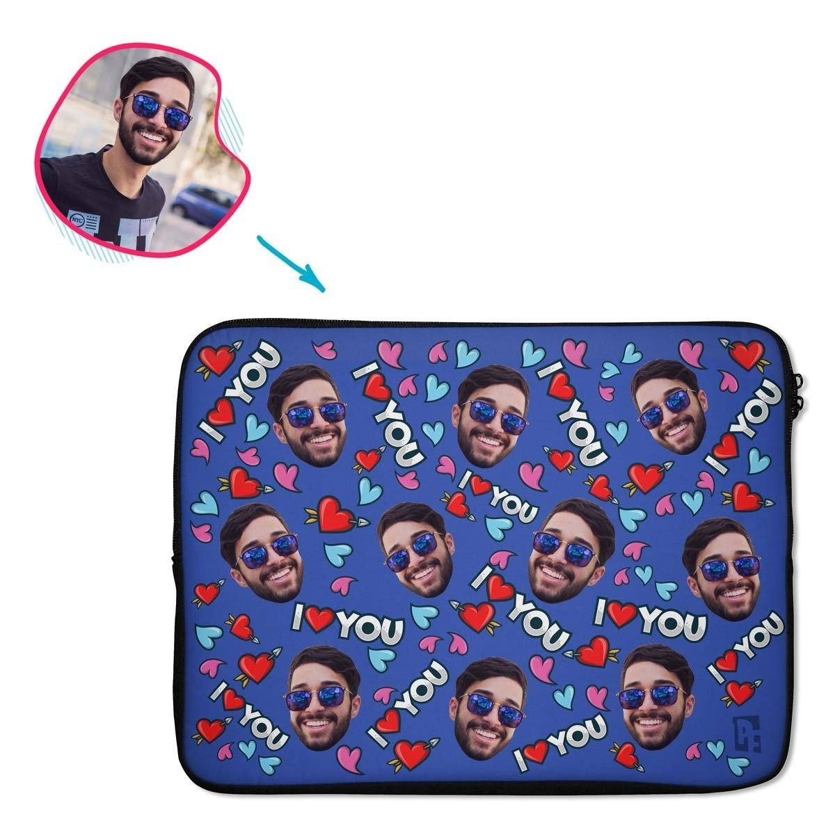 darkblue Love You laptop sleeve personalized with photo of face printed on them