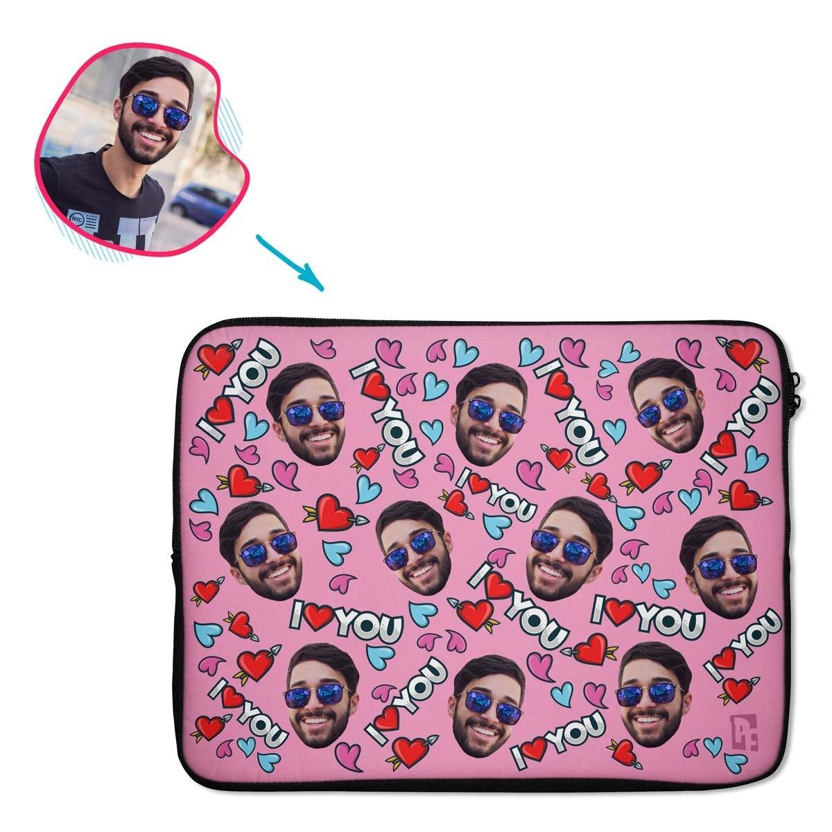 pink Love You laptop sleeve personalized with photo of face printed on them