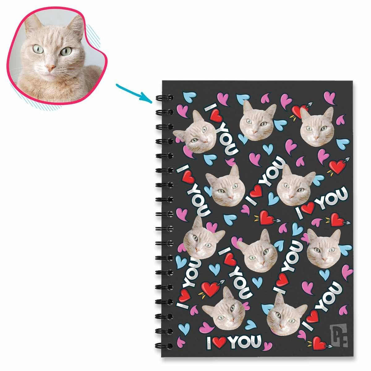 dark Love You Notebook personalized with photo of face printed on them