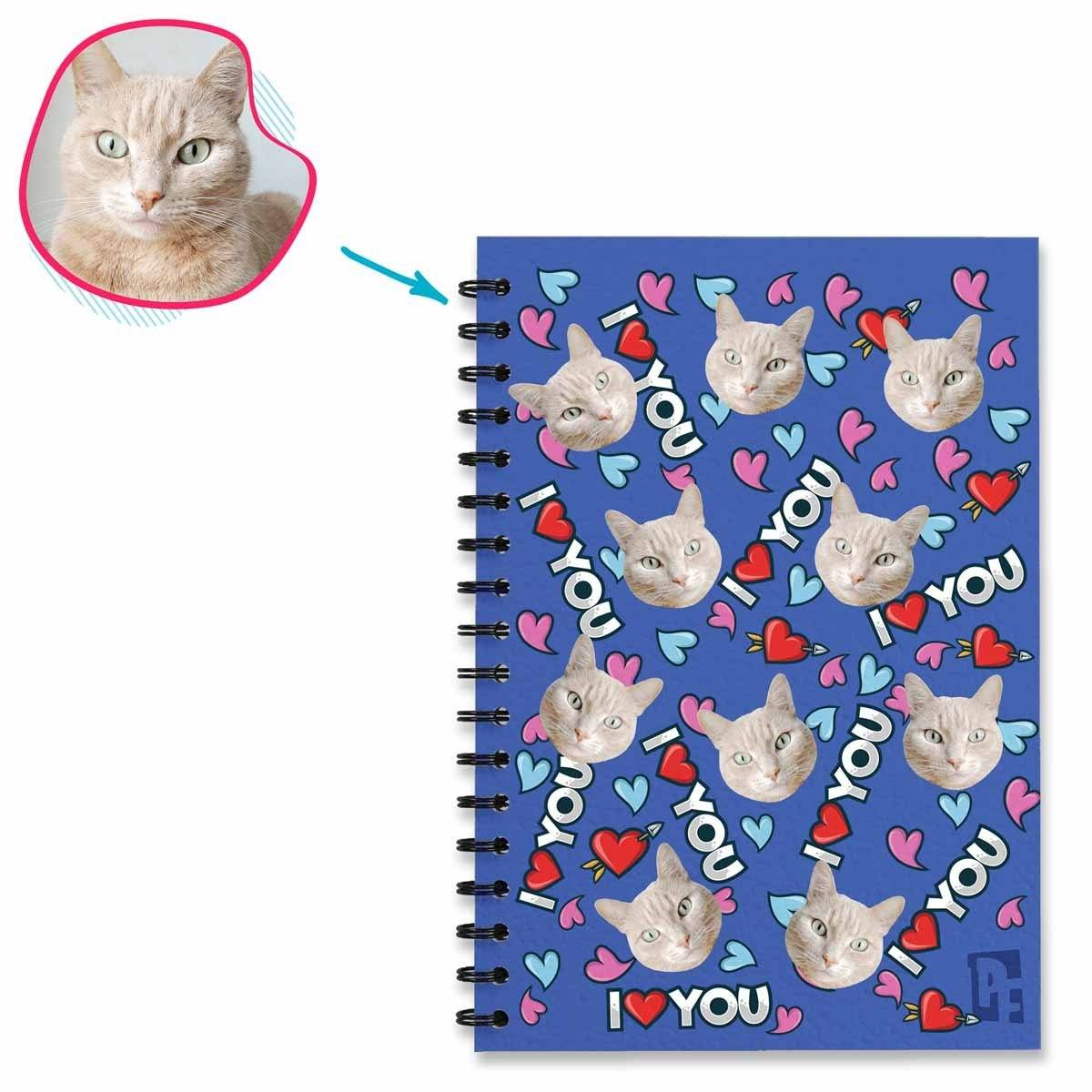 darkblue Love You Notebook personalized with photo of face printed on them
