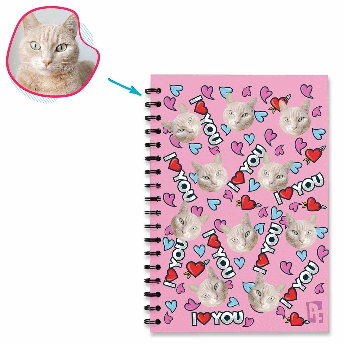 pink Love You Notebook personalized with photo of face printed on them
