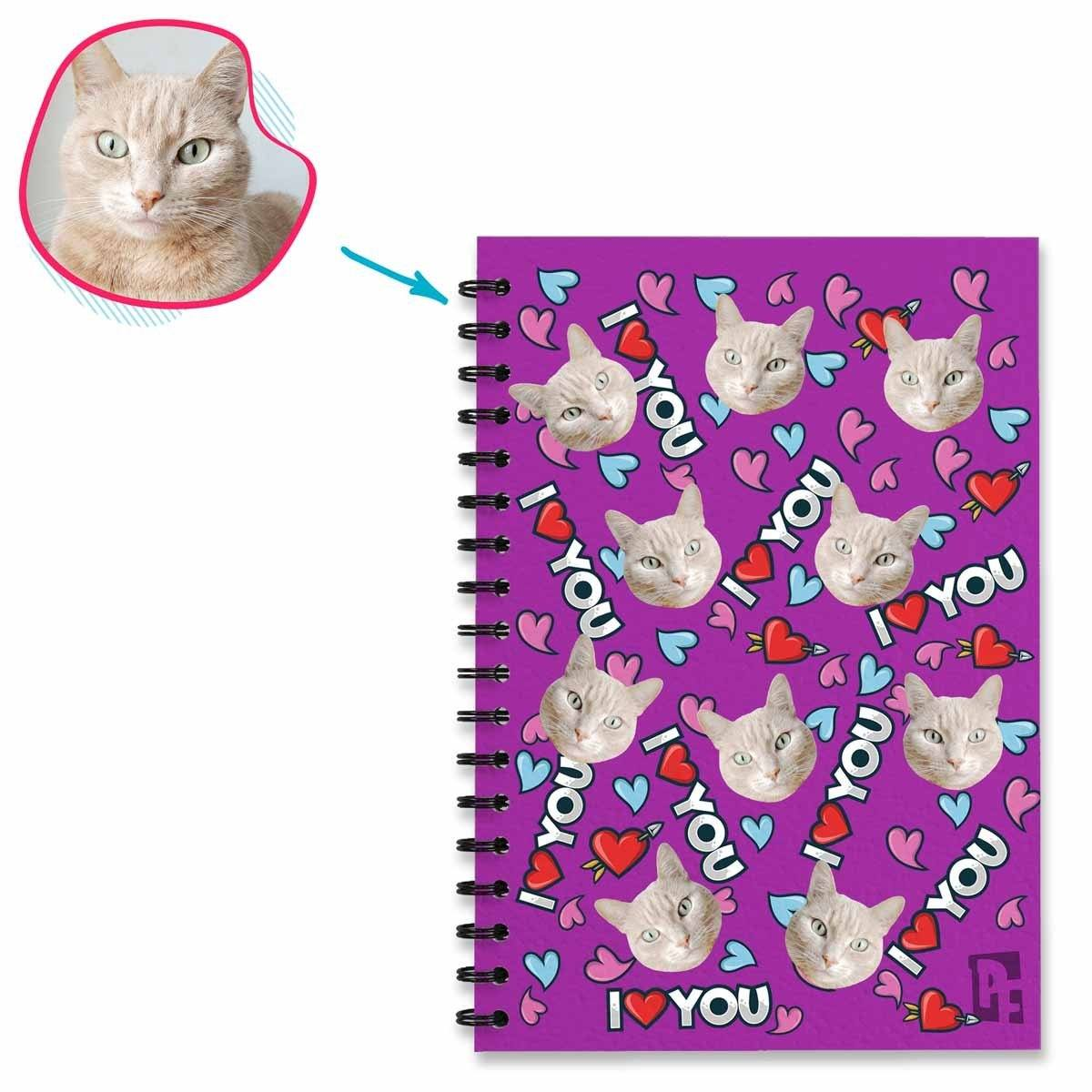 purple Love You Notebook personalized with photo of face printed on them