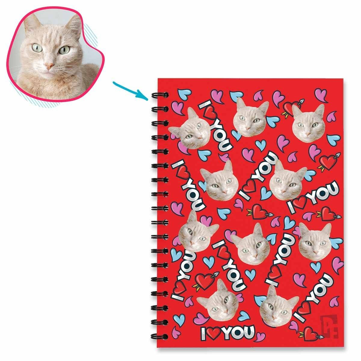 red Love You Notebook personalized with photo of face printed on them