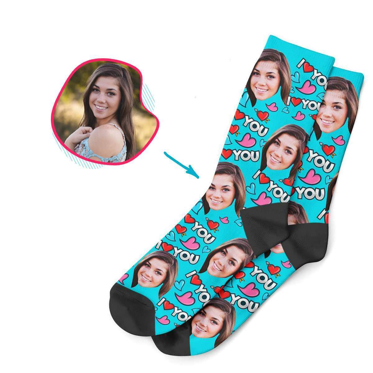 blue Love You socks personalized with photo of face printed on them