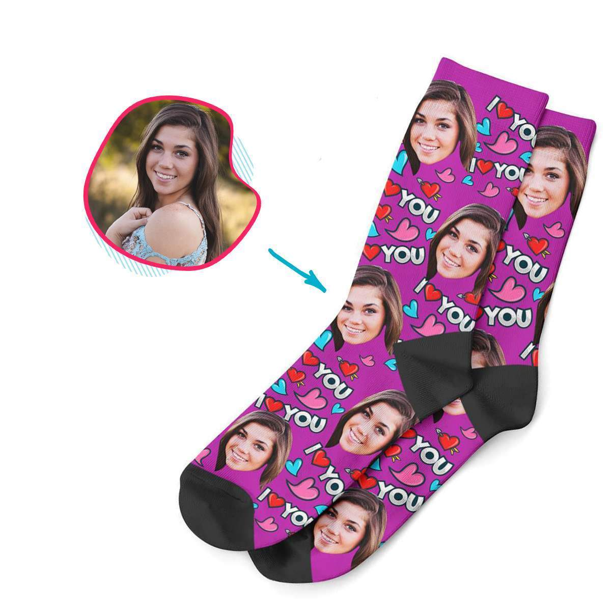 purple Love You socks personalized with photo of face printed on them
