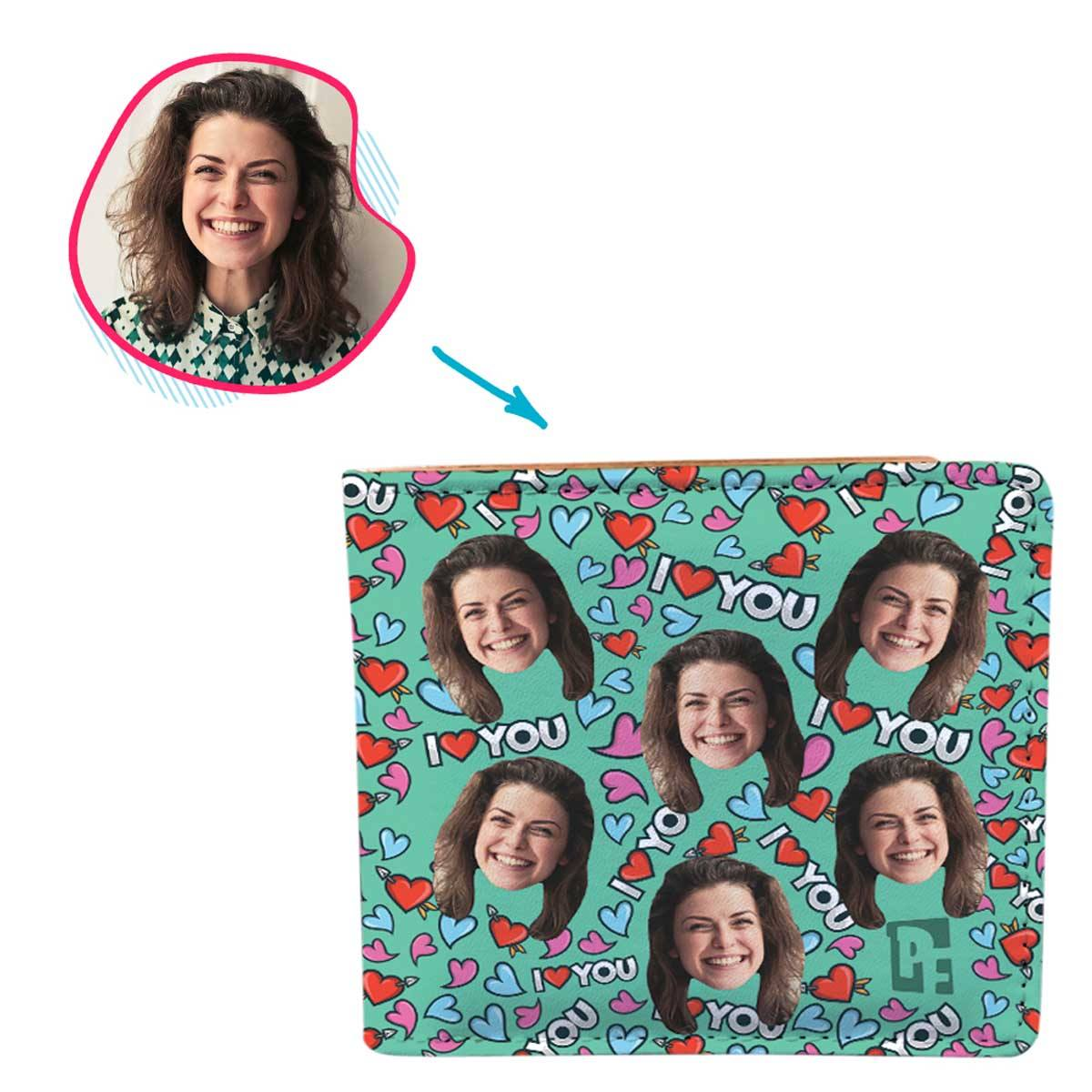 mint Love You wallet personalized with photo of face printed on it
