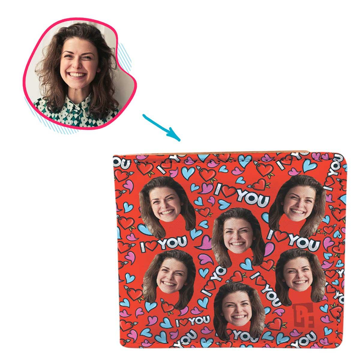 red Love You wallet personalized with photo of face printed on it