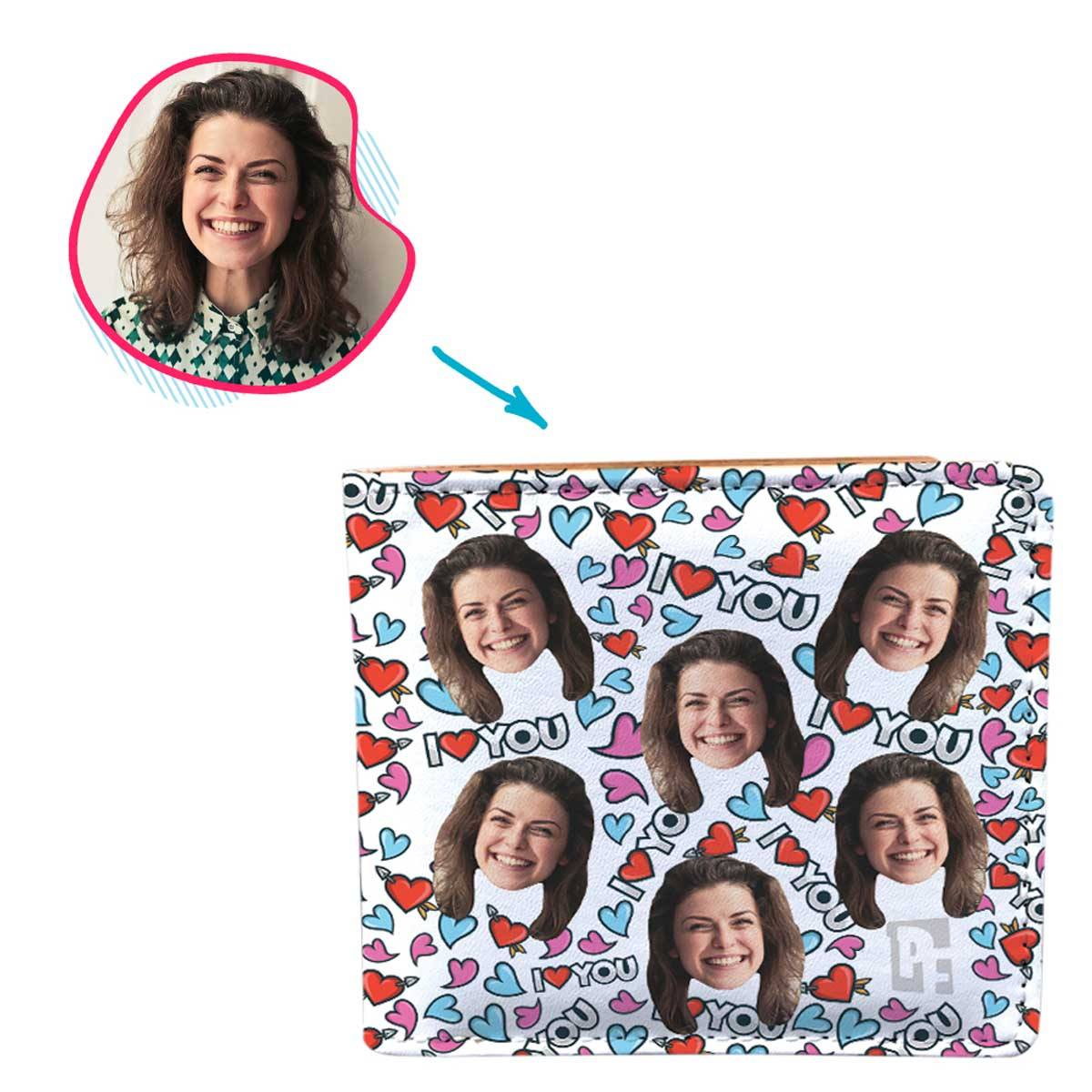 white Love You wallet personalized with photo of face printed on it