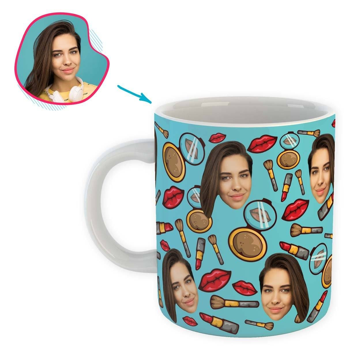 Blue Makeup personalized mug with photo of face printed on it