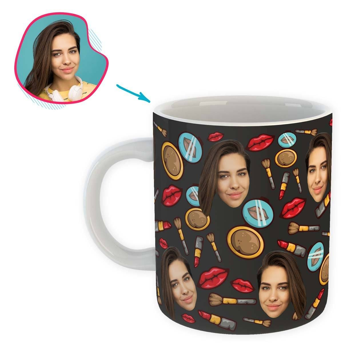 Dark Makeup personalized mug with photo of face printed on it