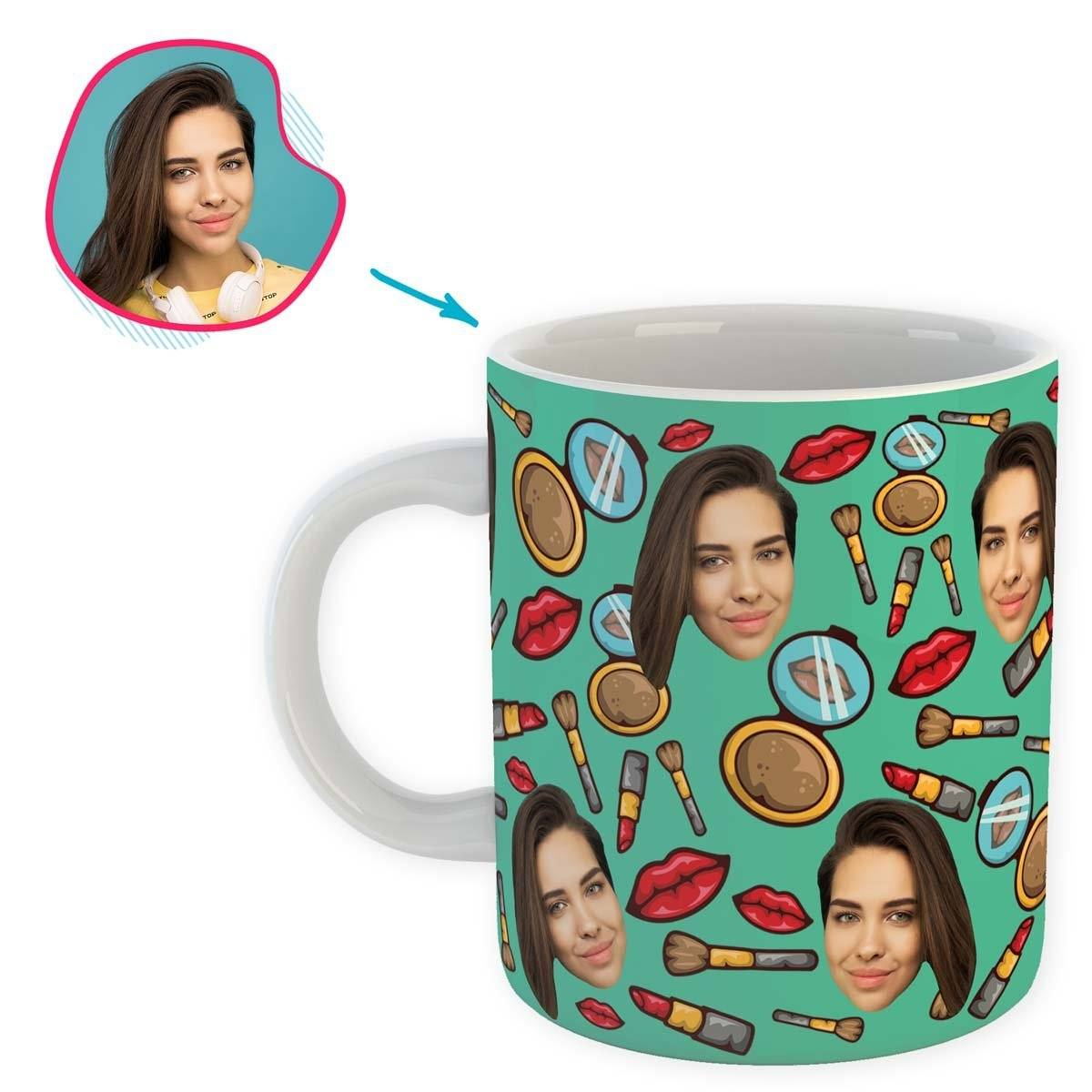 Mint Makeup personalized mug with photo of face printed on it