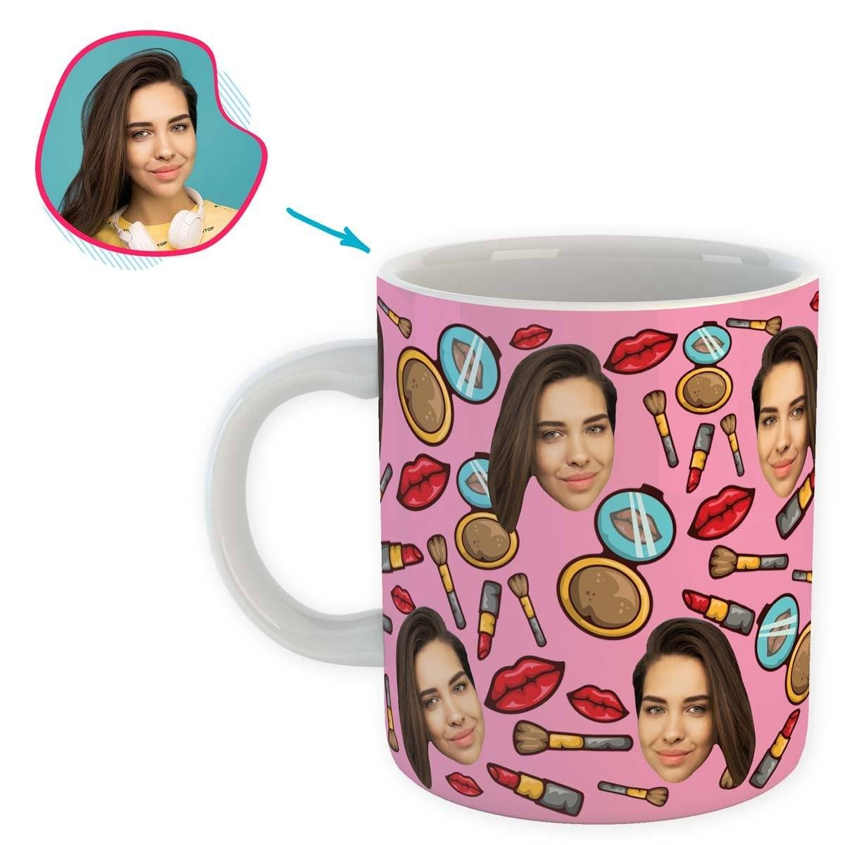 Pink Makeup personalized mug with photo of face printed on it