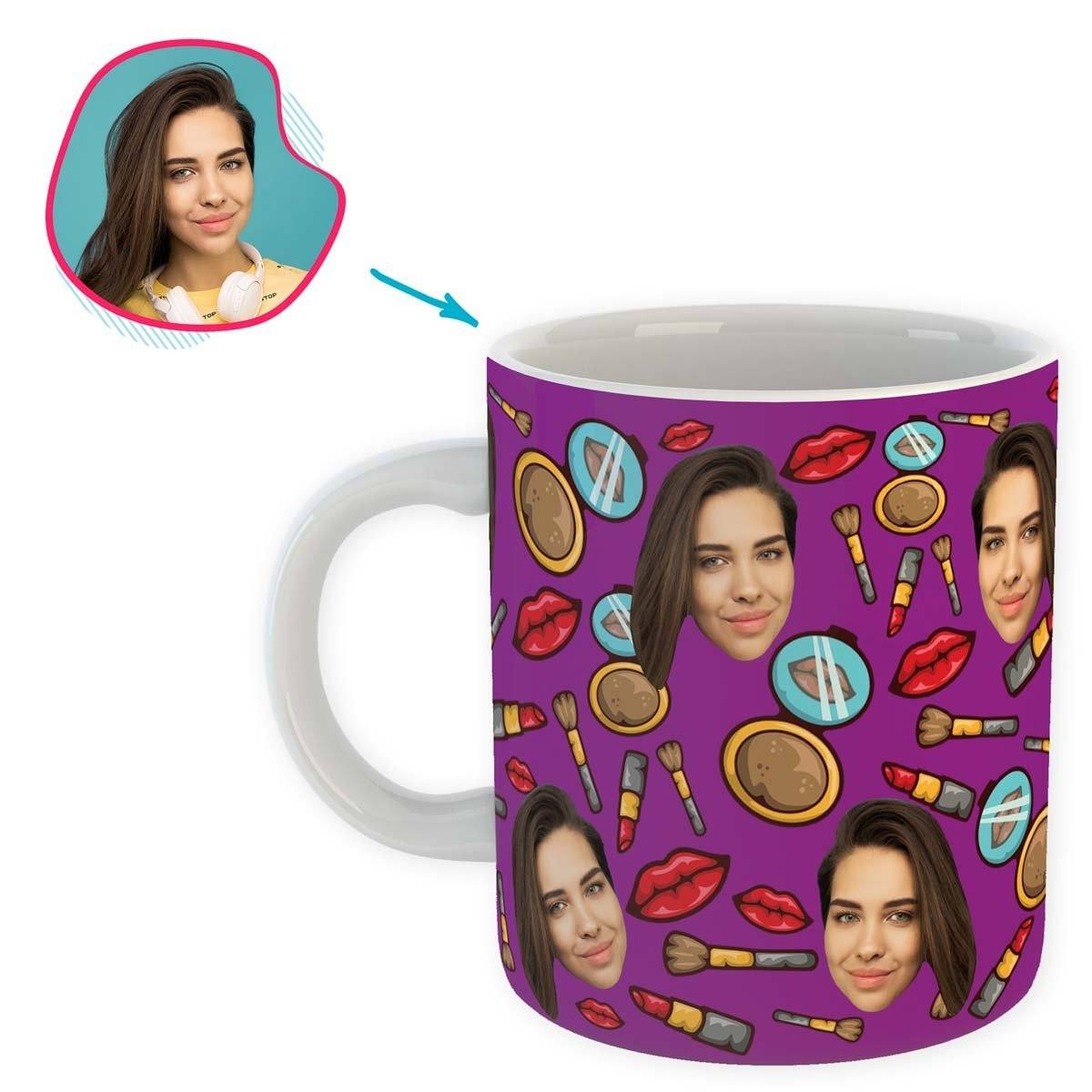 Purple Makeup personalized mug with photo of face printed on it