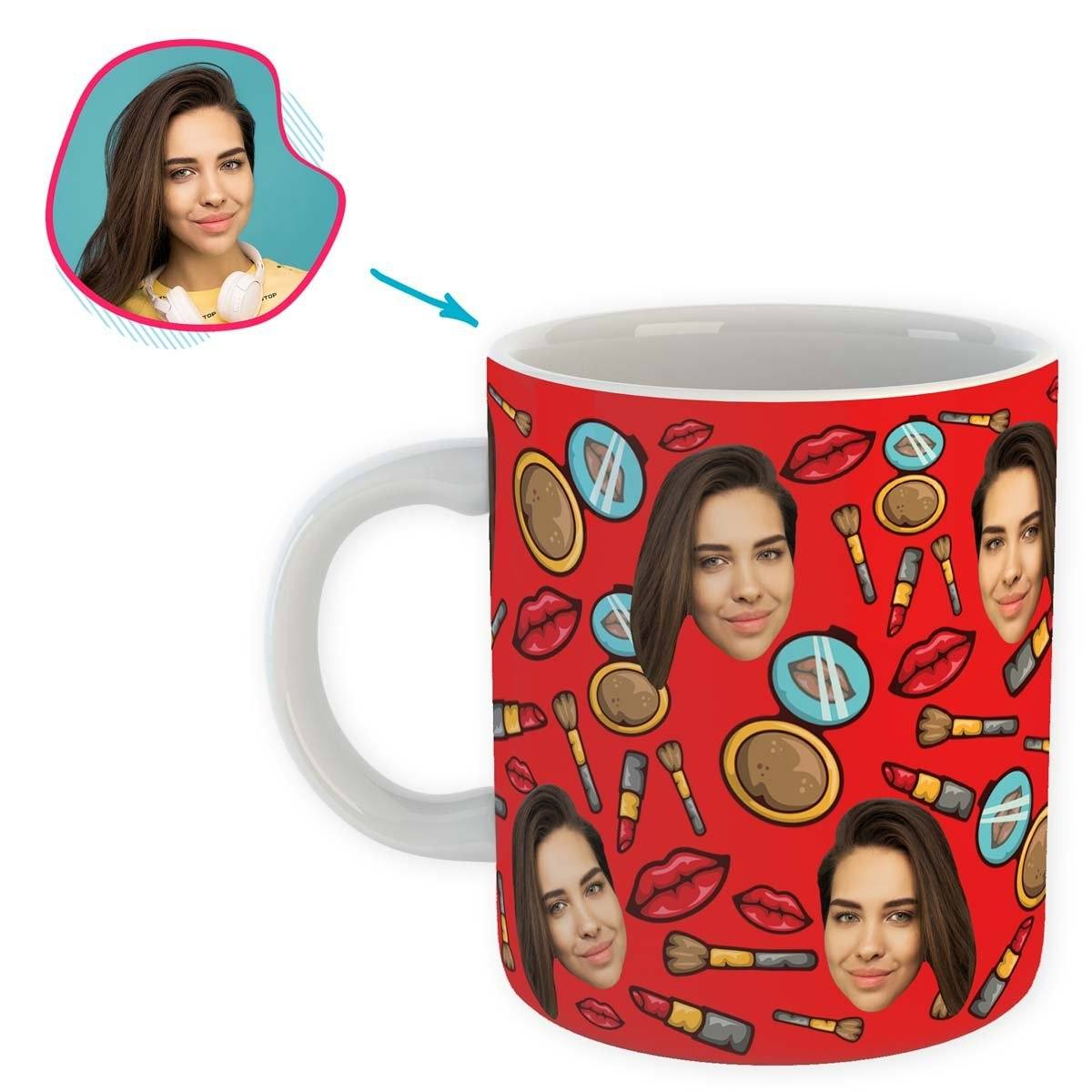 Red Makeup personalized mug with photo of face printed on it
