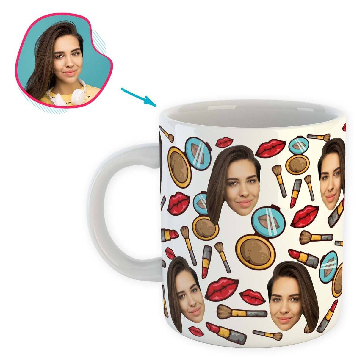 White Makeup personalized mug with photo of face printed on it