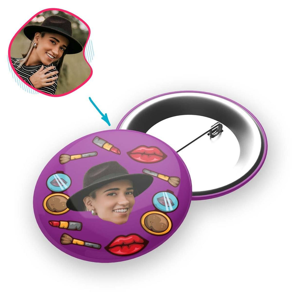Purple Makeup personalized pin with photo of face printed on it