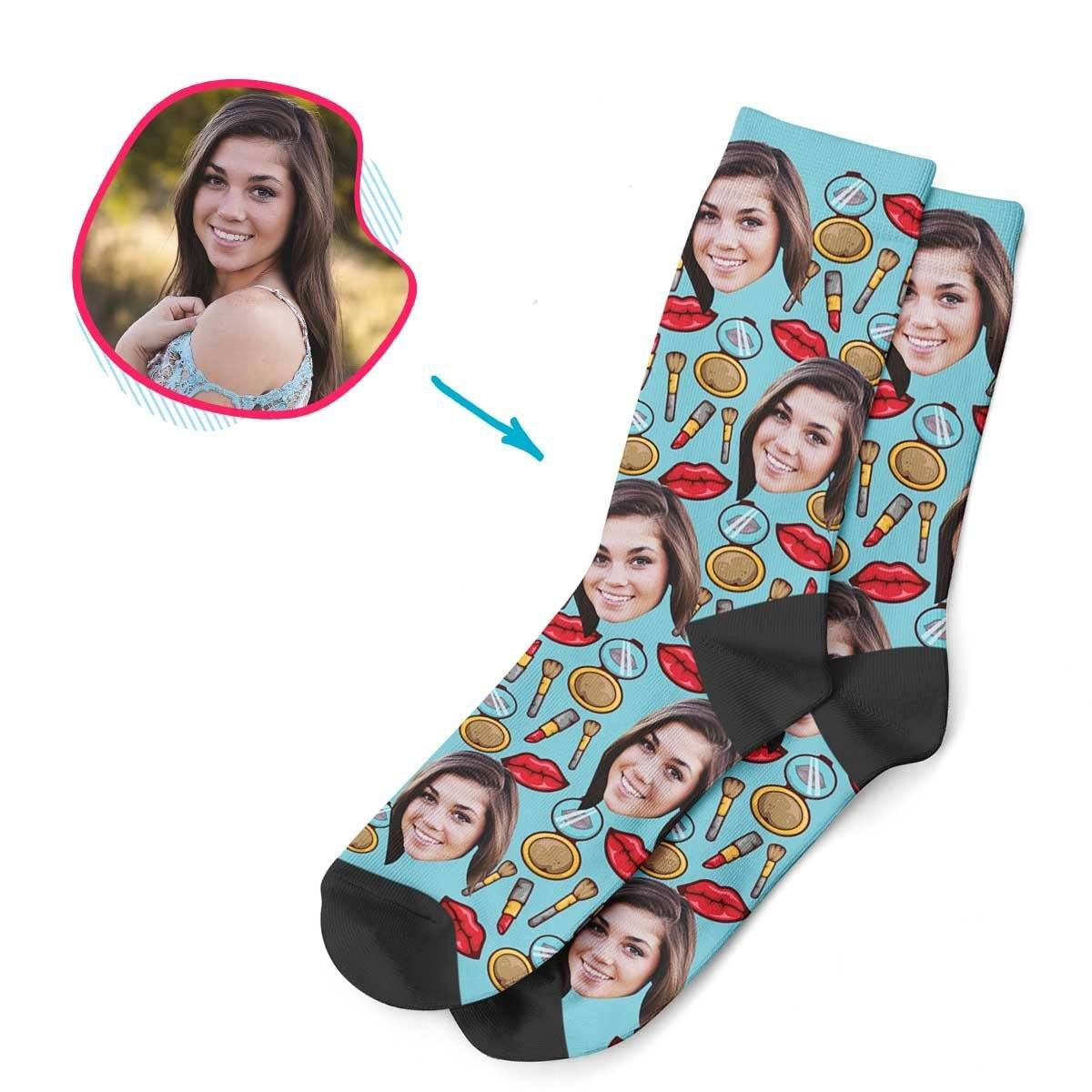 Blue Makeup personalized socks with photo of face printed on them