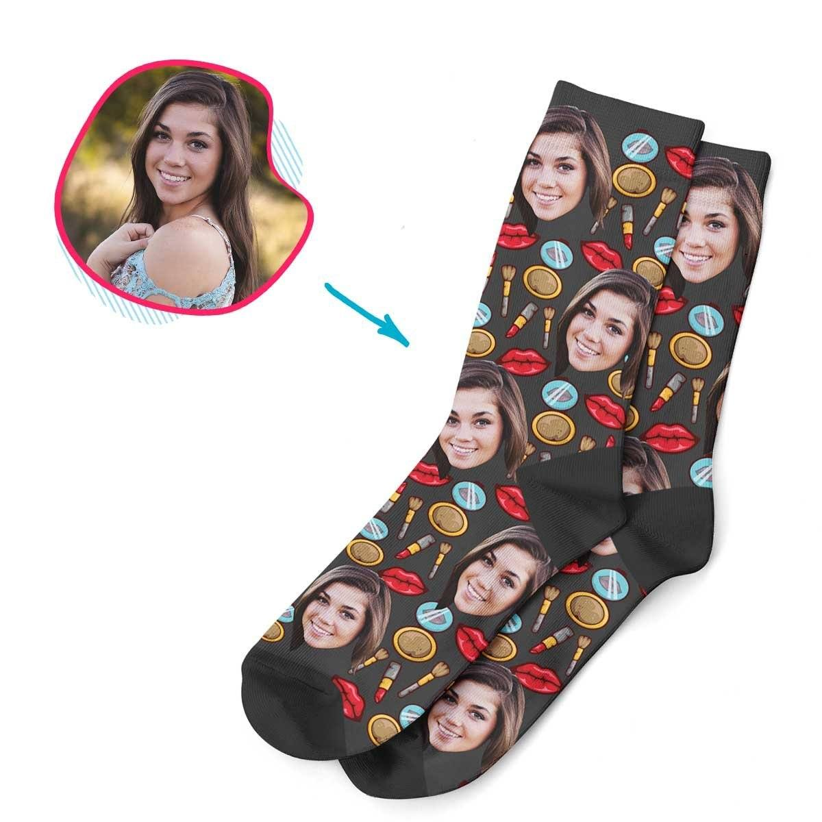 Dark Makeup personalized socks with photo of face printed on them