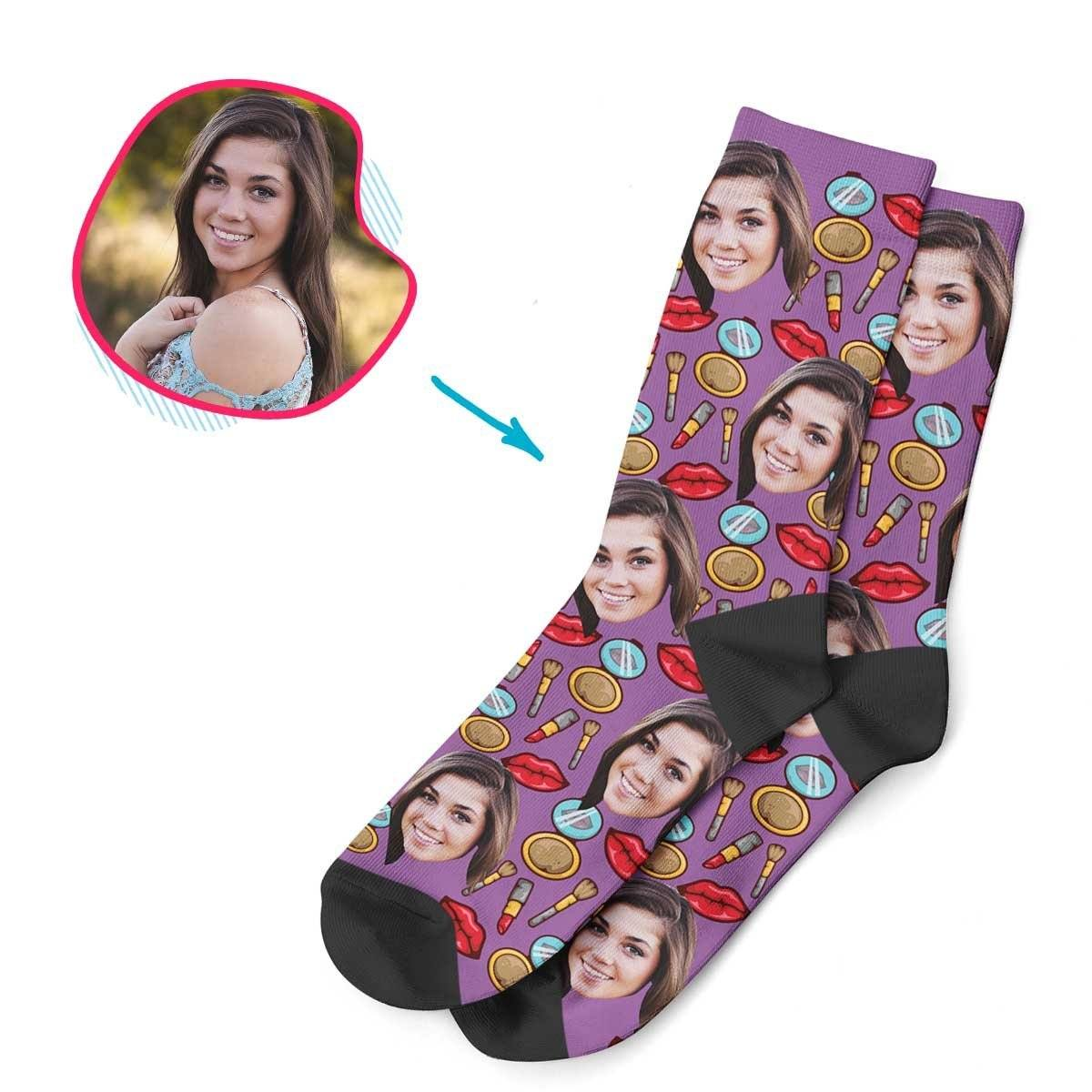 Purple Makeup personalized socks with photo of face printed on them