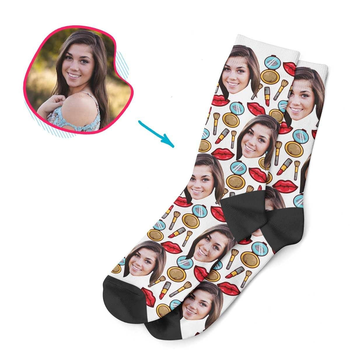White Makeup personalized socks with photo of face printed on them