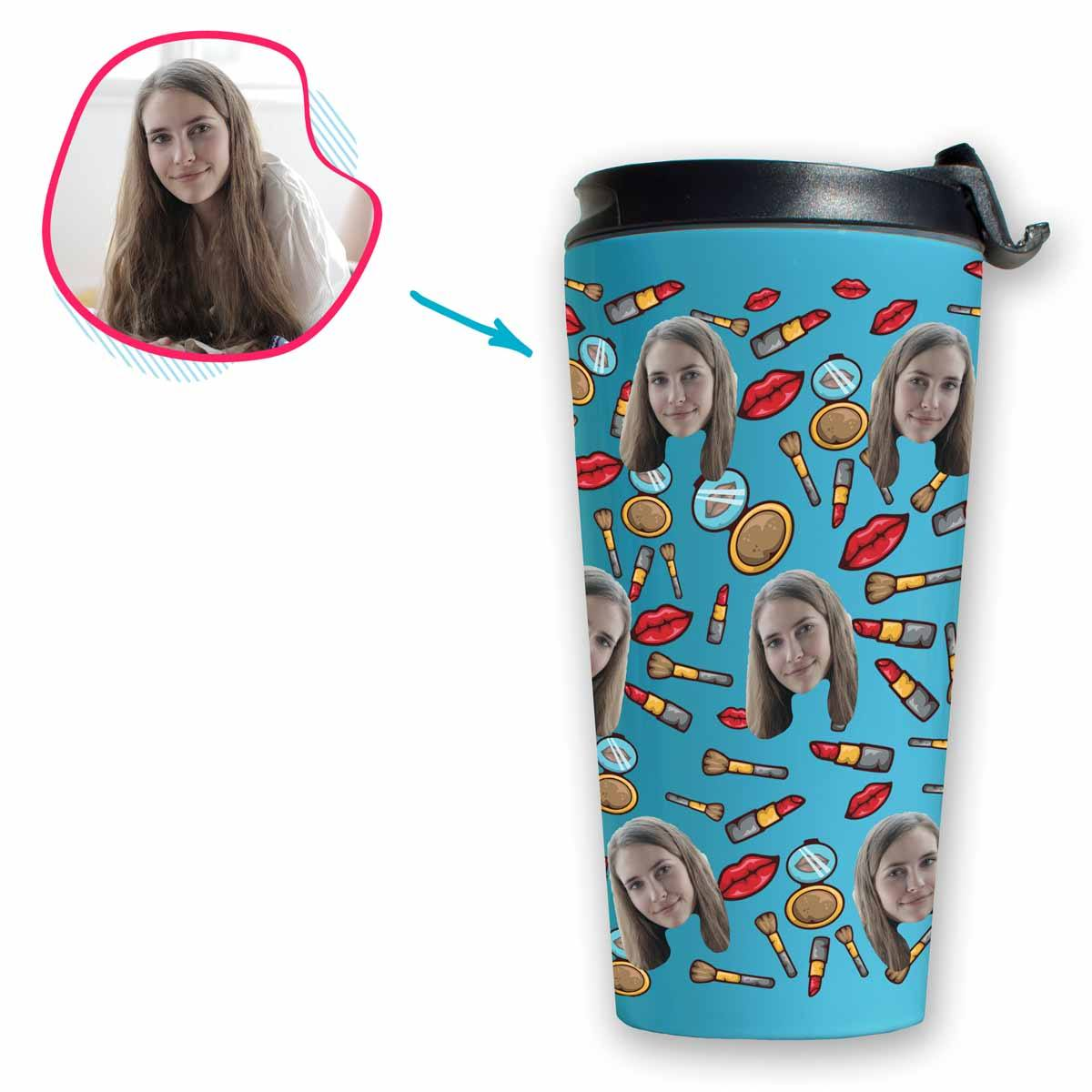 Blue Makeup personalized travel mug with photo of face printed on it