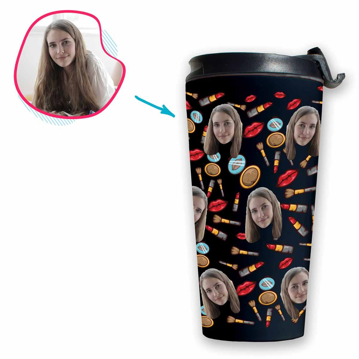 Dark Makeup personalized travel mug with photo of face printed on it