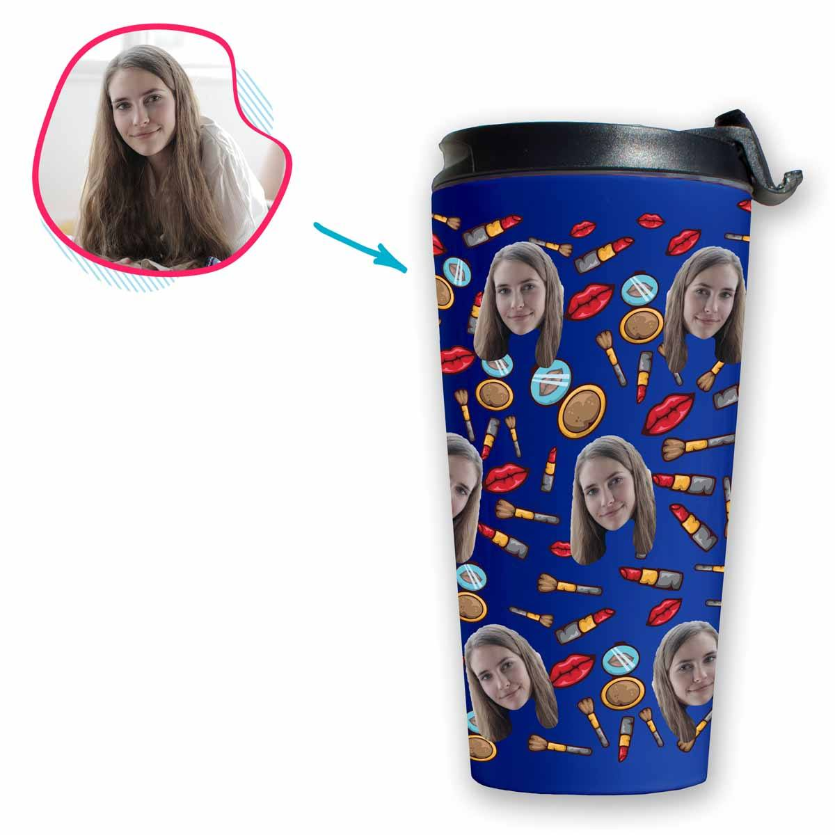 Darkblue Makeup personalized travel mug with photo of face printed on it