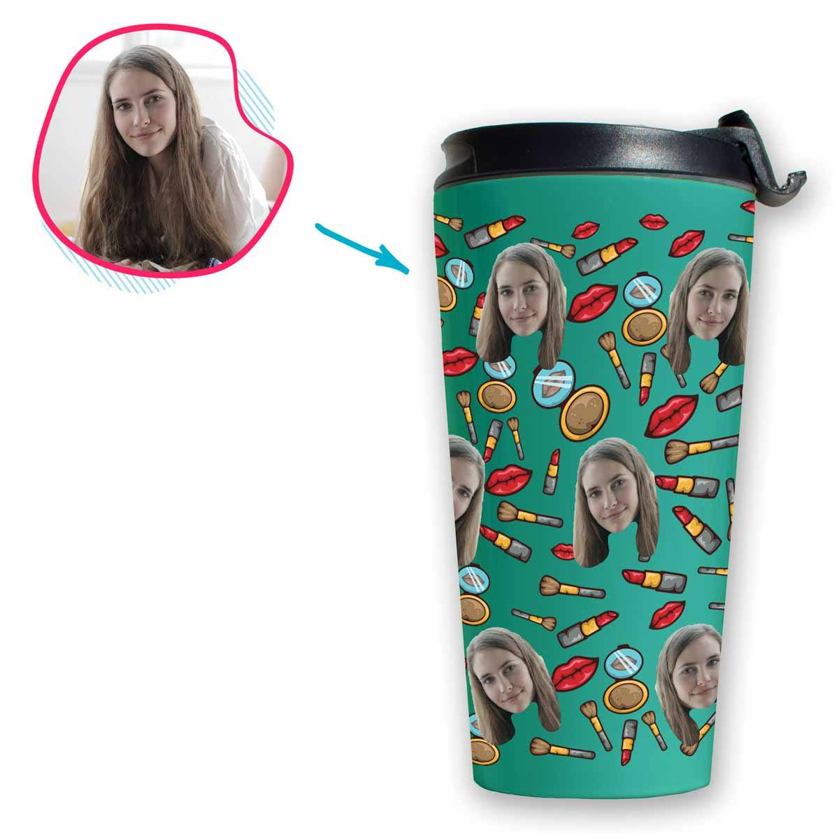 Mint Makeup personalized travel mug with photo of face printed on it