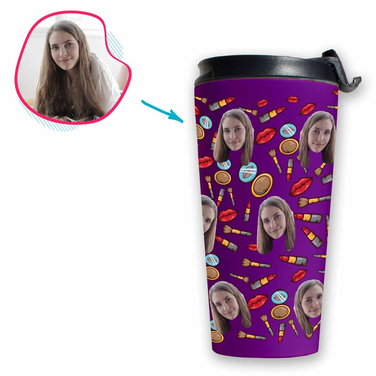 Purple Makeup personalized travel mug with photo of face printed on it