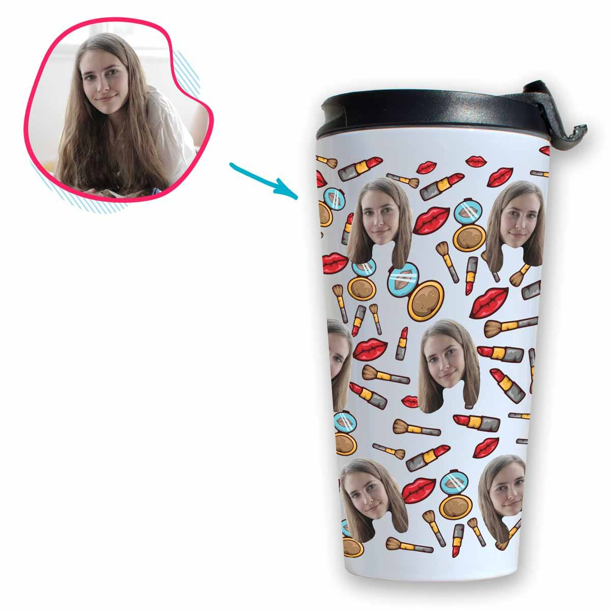 White Makeup personalized travel mug with photo of face printed on it