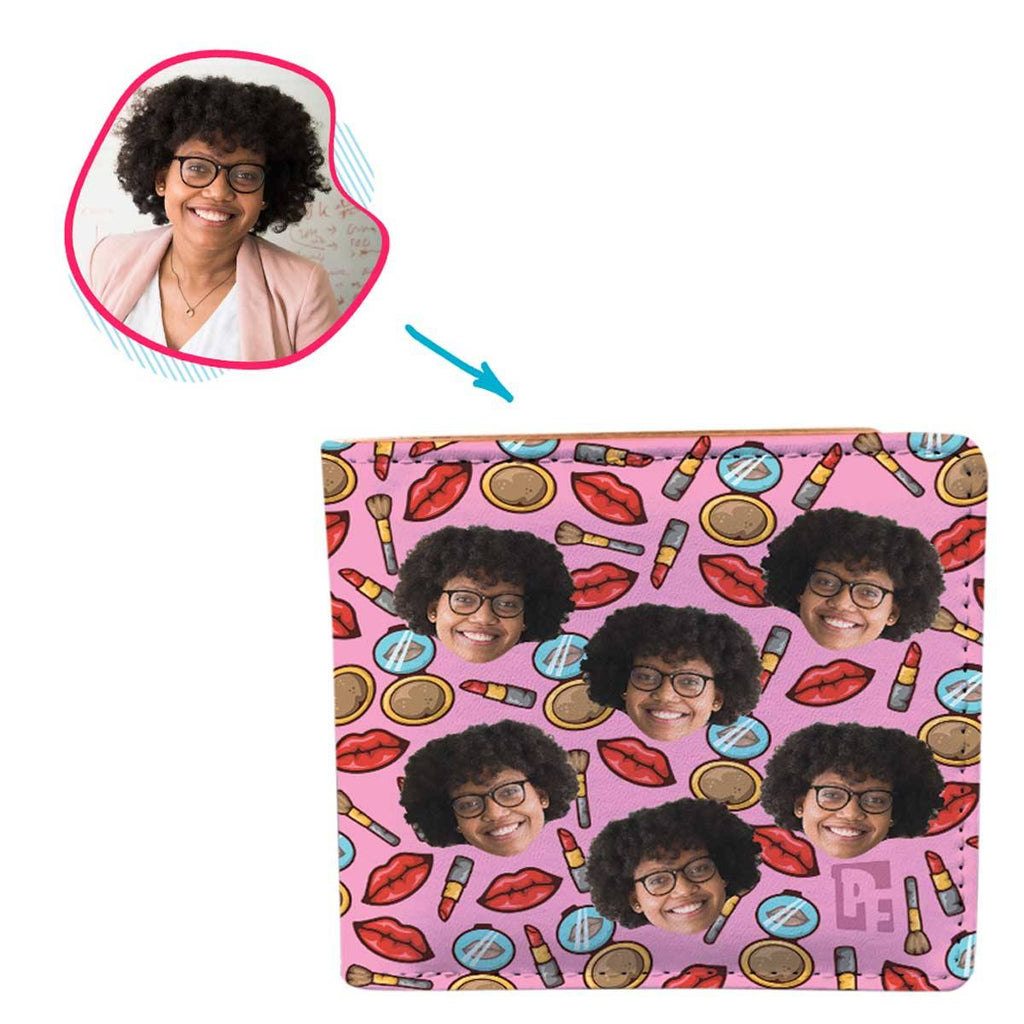 Pink Makeup personalized wallet with photo of face printed on it