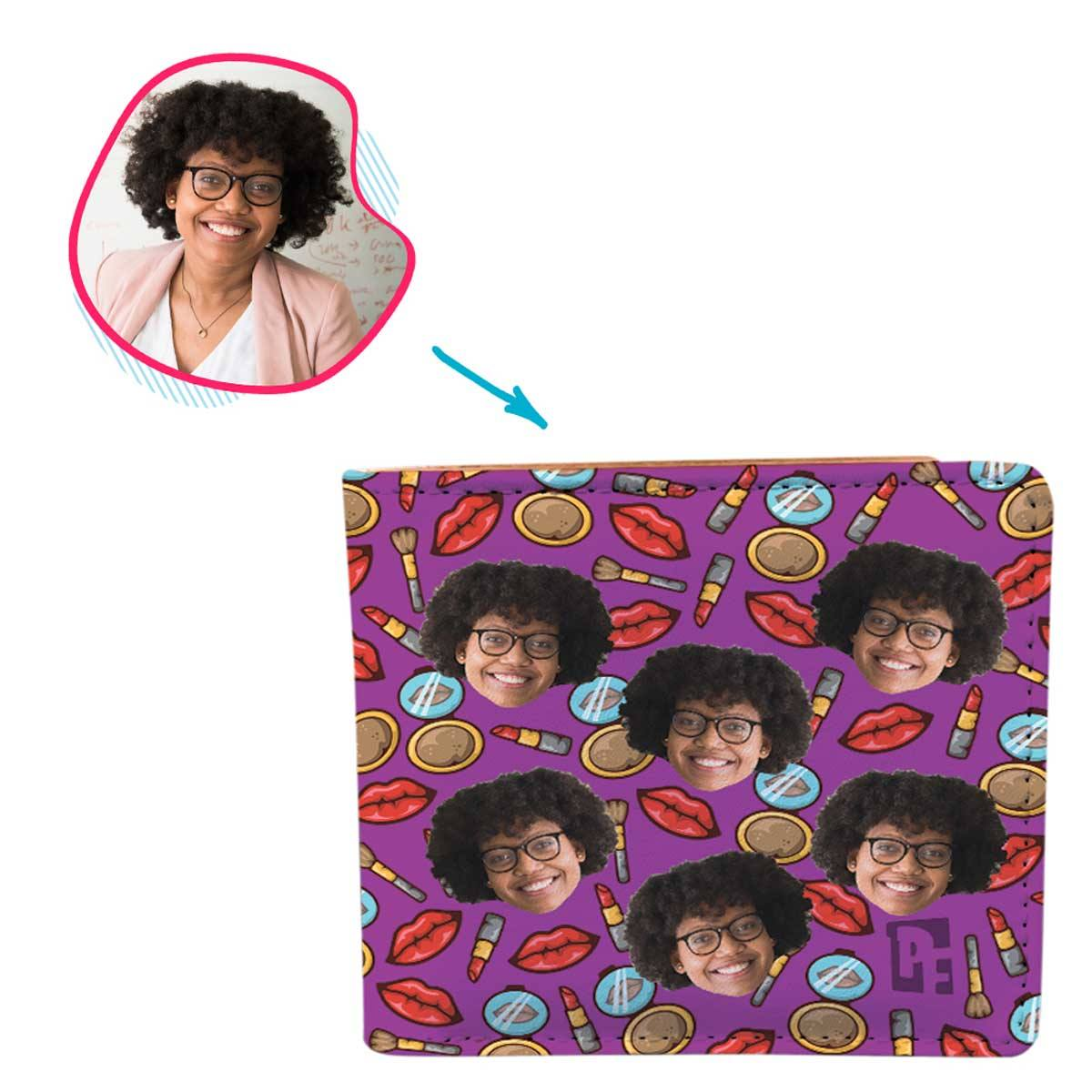 Purple Makeup personalized wallet with photo of face printed on it