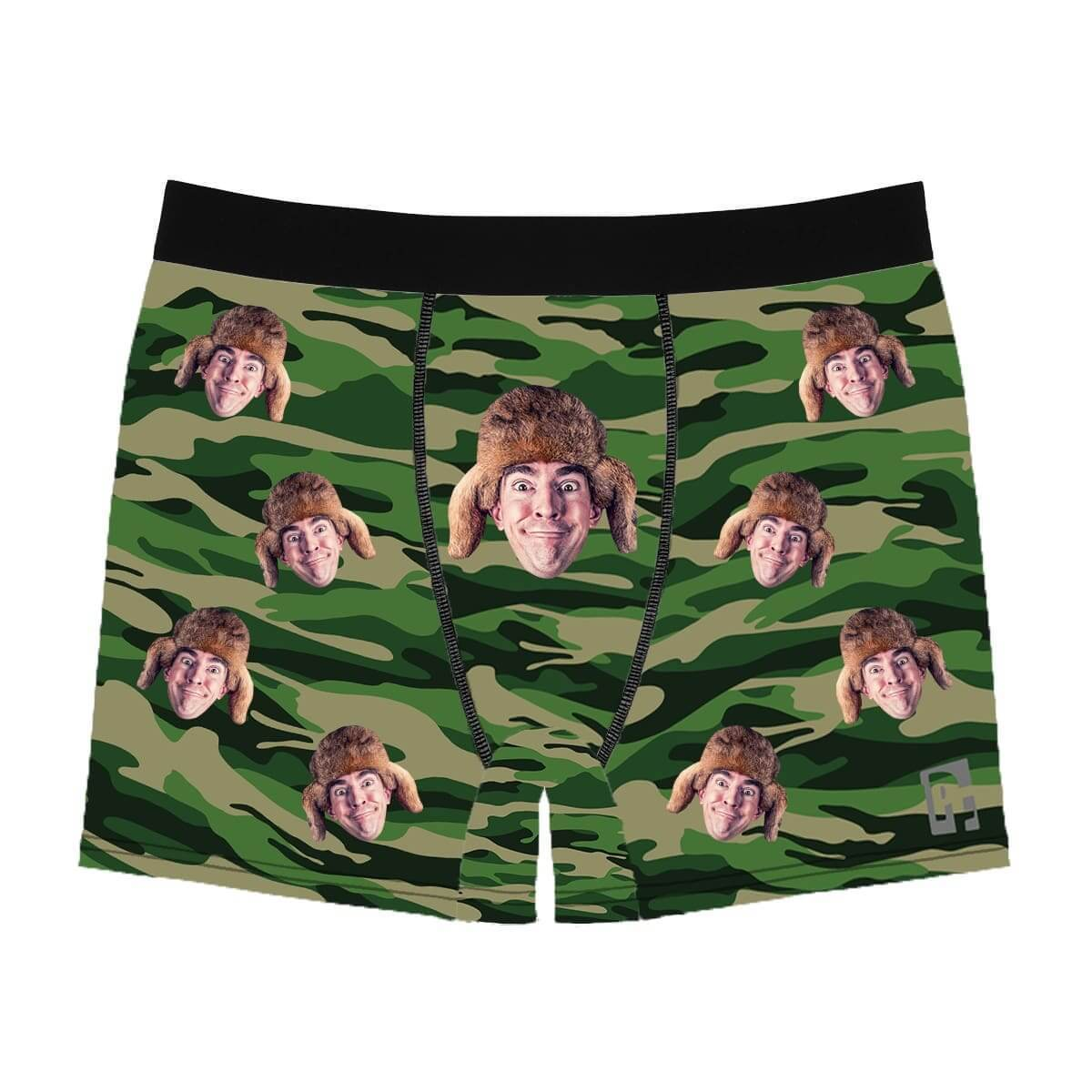 Military men's boxer briefs personalized with photo printed on them