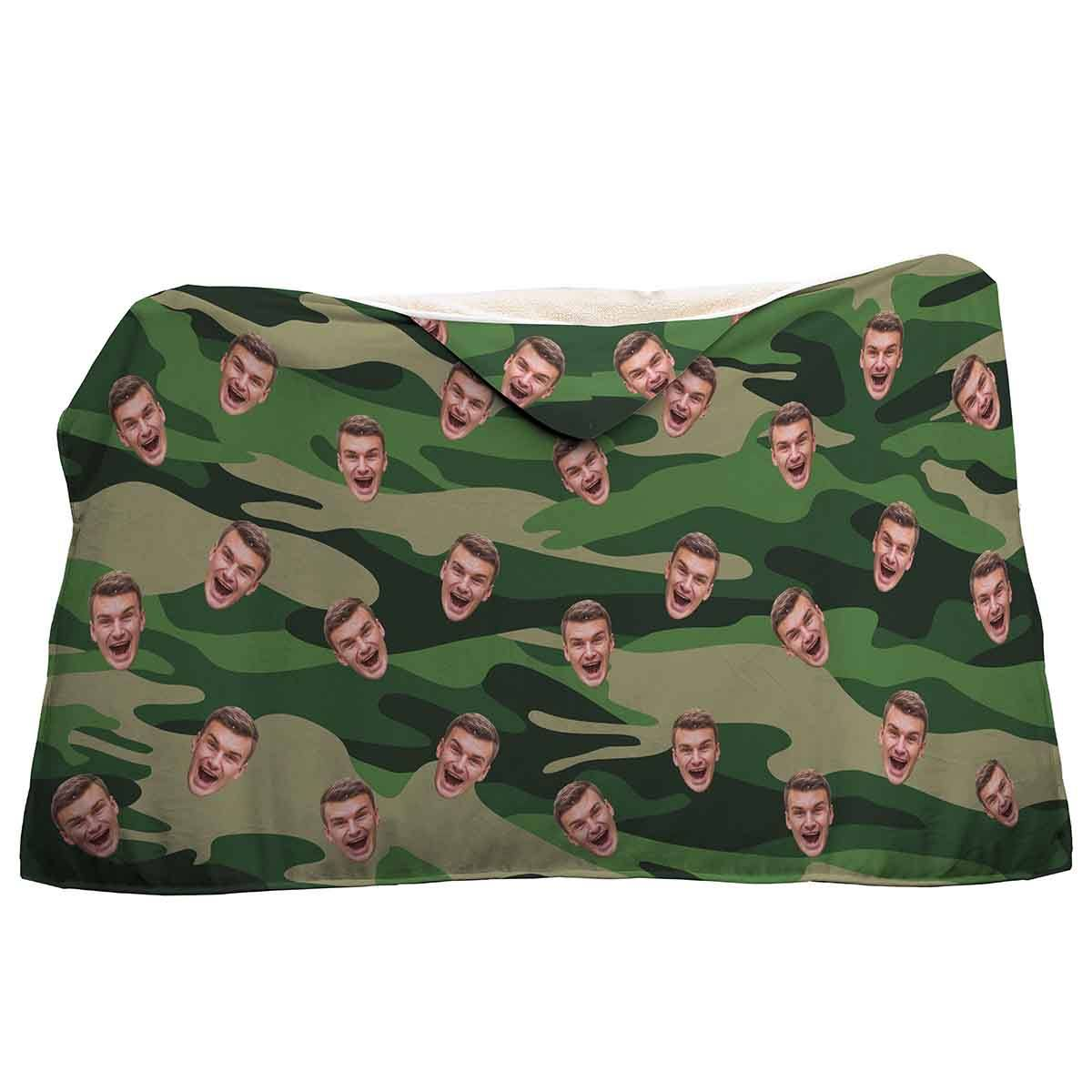 military Military hooded blanket personalized with photo of face printed on it