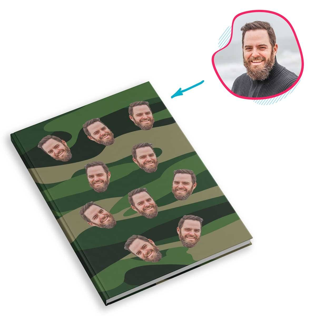 military Military Notebook personalized with photo of face printed on them