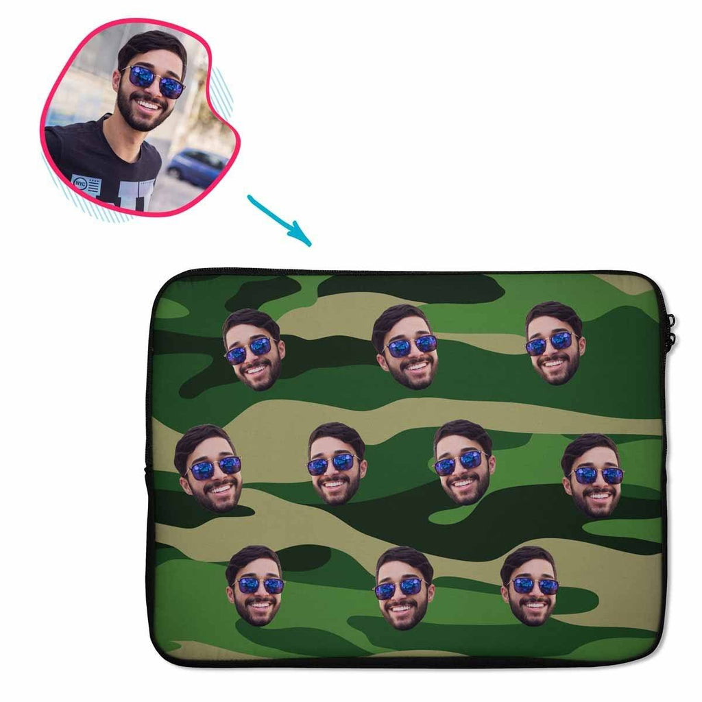 military Military laptop sleeve personalized with photo of face printed on them