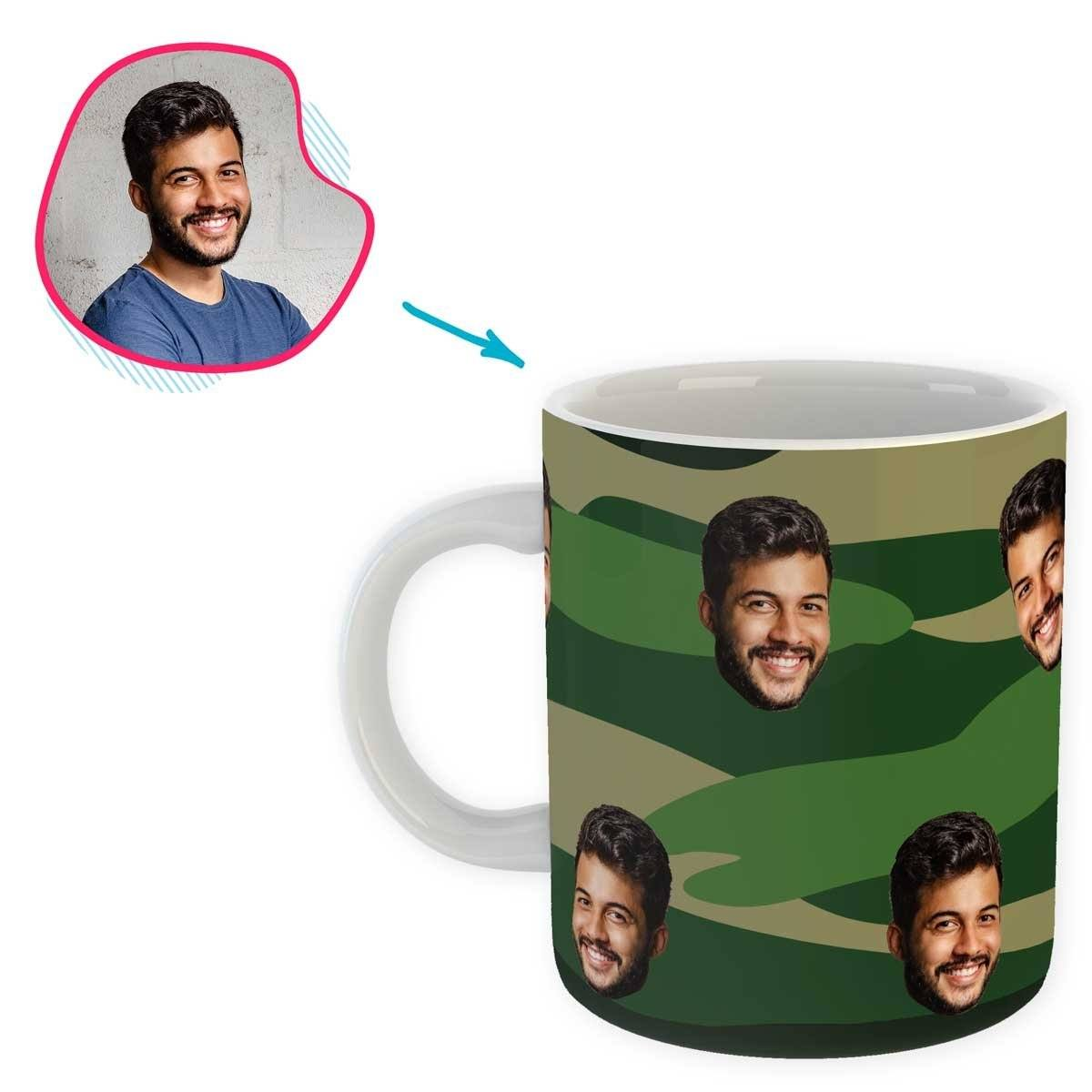 military Military mug personalized with photo of face printed on it