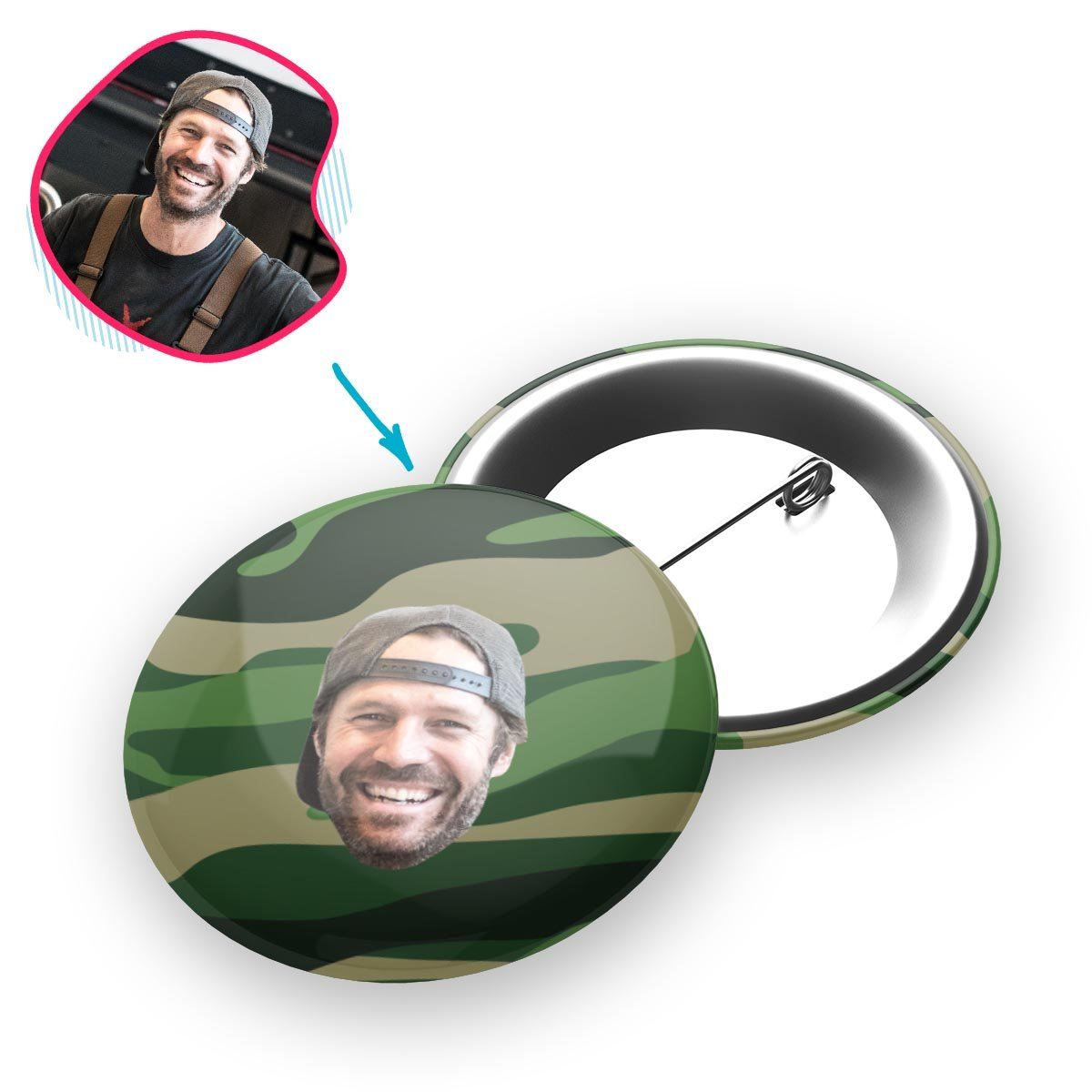military Military pin personalized with photo of face printed on it