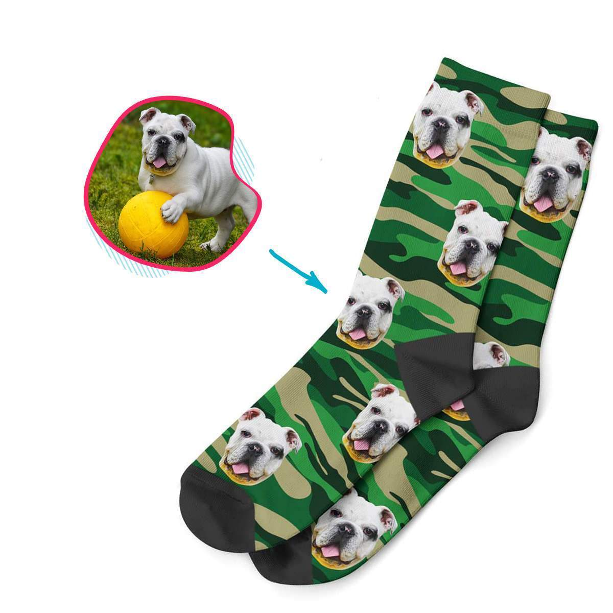 military Military socks personalized with photo of face printed on them