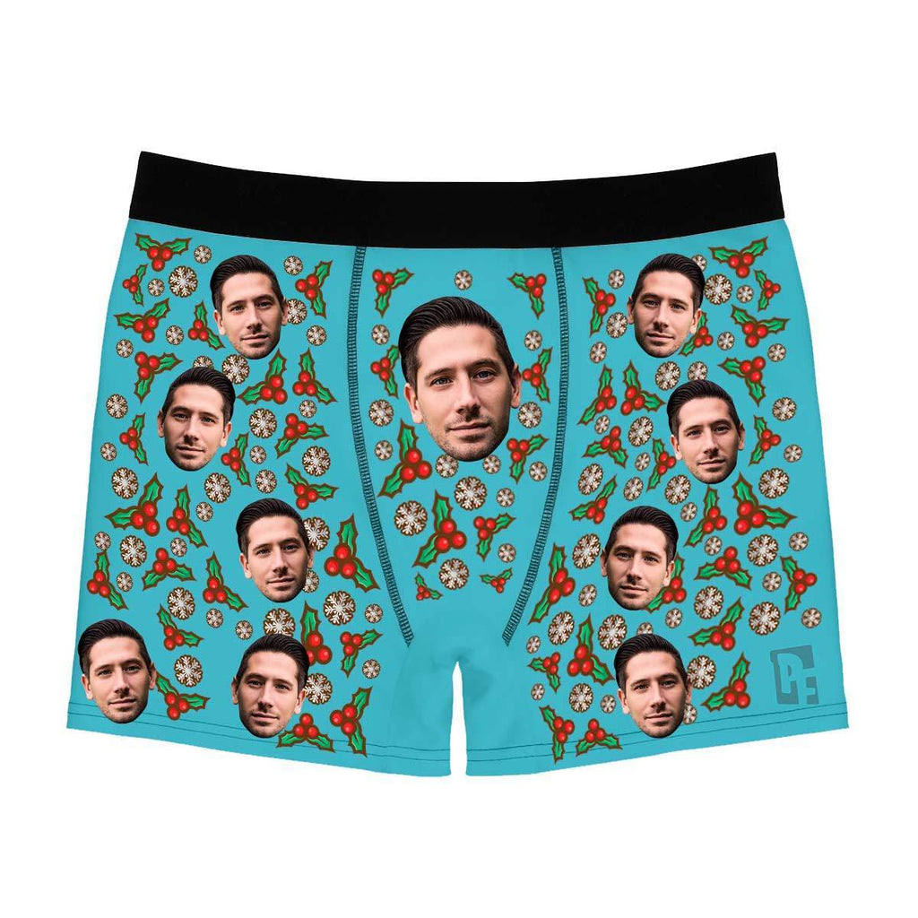 Blue Mistletoe men's boxer briefs personalized with photo printed on them